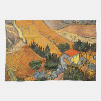 Valley with Ploughman by Vincent van Gogh Kitchen Towel