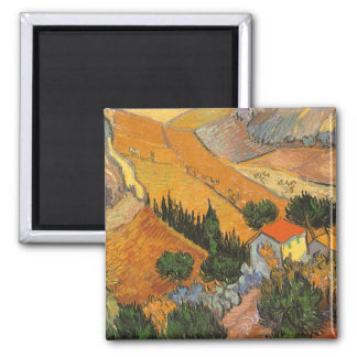 Valley with Ploughman by Vincent van Gogh Magnet