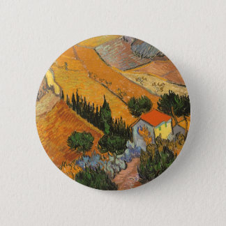 Valley with Ploughman by Vincent van Gogh Pinback Button