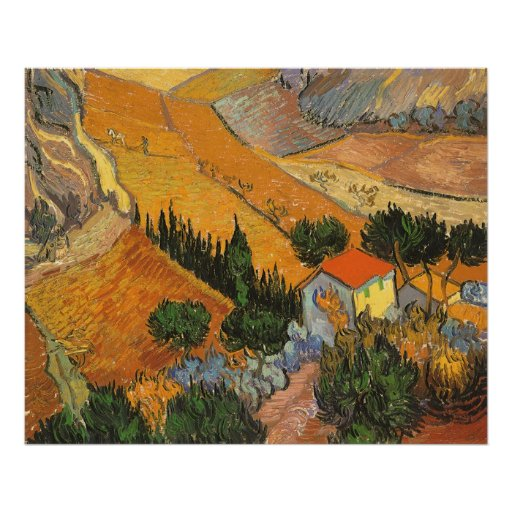 Valley with Ploughman by Vincent van Gogh Poster