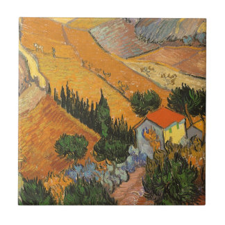 Valley with Ploughman by Vincent van Gogh Tile