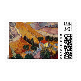 Valley with Ploughman (F727)Van Gogh Fine Art Postage