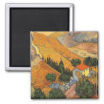 Valley with Ploughman Seen From Above Van Gogh 2 Inch Square Magnet