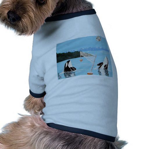 VALLEYBALL PLAYING ORCA WHALES DOGGIE TSHIRT
