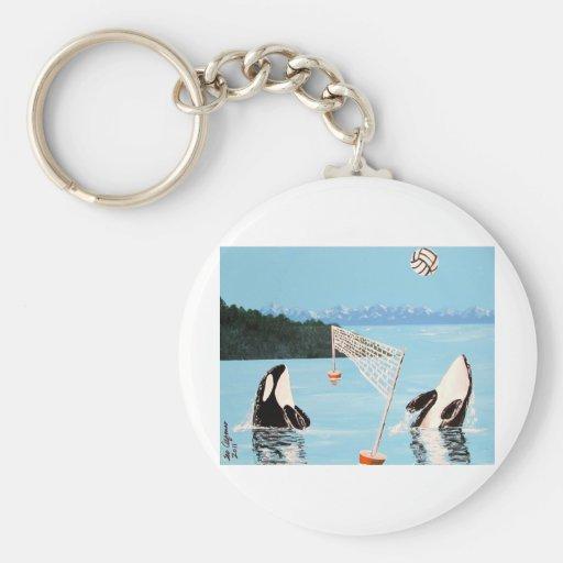 VALLEYBALL QUE JUEGA BALLENAS DE LA ORCA LLAVERO REDONDO TIPO PIN
