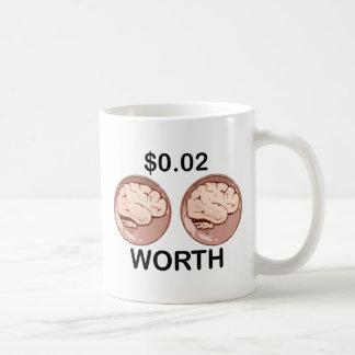 Valor de dos centavos tazas de café