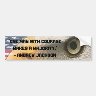 VALOR de la CITA de ANDREW JACKSON con el OJO de E Etiqueta De Parachoque