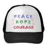 Valor de la esperanza de la paz gorras de camionero