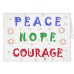 Valor de la esperanza de la paz tarjeta