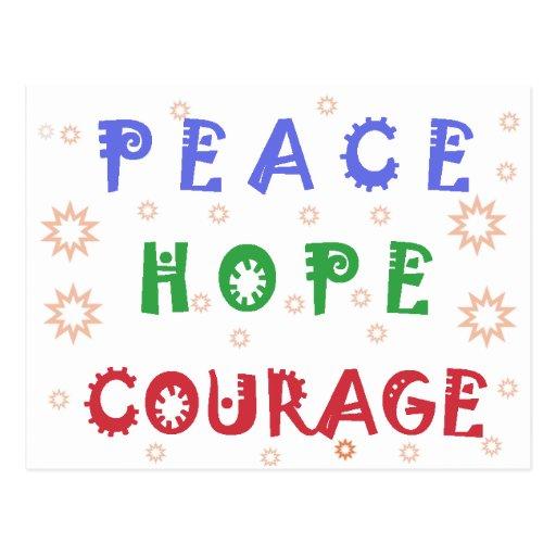 Valor de la esperanza de la paz tarjeta postal