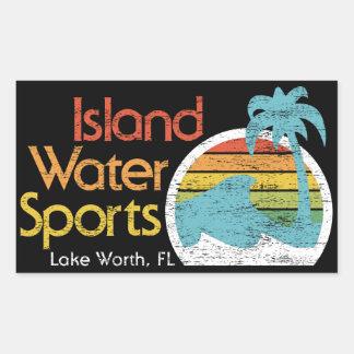 Valor del Deporte-Lago del agua de la isla, FL Pegatina Rectangular