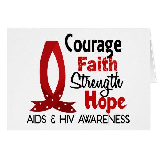 Valor, fe, fuerza, SIDA de la esperanza Felicitación