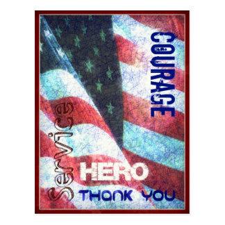 Valor-Héroe-Agradézcale postal del día de veterano
