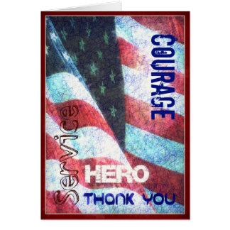 Valor - héroe - gracias tarjeta del día de veteran