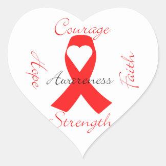 Valor rojo de la fe de la esperanza de la pegatina en forma de corazón