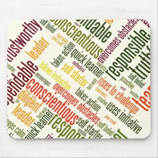 Valores de motivación del positivo de las palabras tapetes de ratón