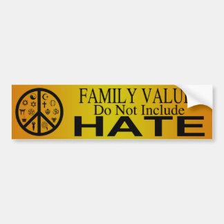 Valores familiares pegatina para auto