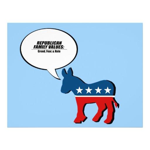 Valores republicanos - avaricia, miedo, y odio flyer a todo color