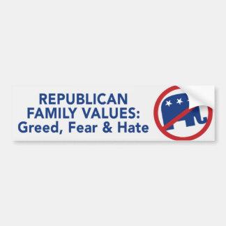 Valores republicanos - avaricia, miedo, y pegatina pegatina para auto