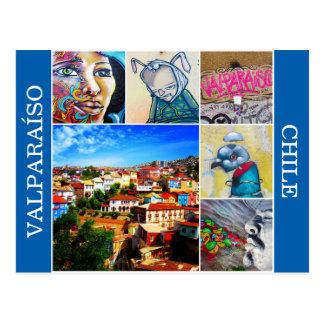 valparaíso colorful art postcard