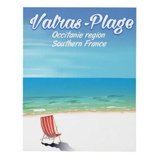 Valras-Plage France beach travel poster. Panel Wall Art