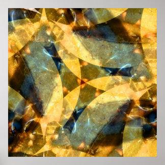 Vals de cristal del mar en azul y oro póster