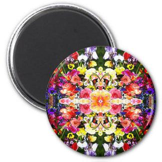 Vals del fractal del jardín de flores imán redondo 5 cm