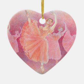 Vals del ornamento de la porcelana de las flores adorno navideño de cerámica en forma de corazón