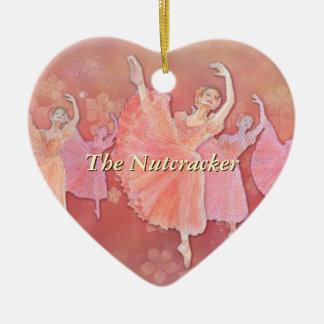 Vals del ornamento del corazón de las flores adorno de cerámica en forma de corazón