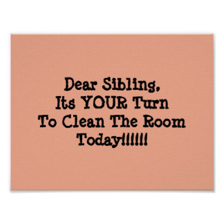 Value poster for siblings sharing their room.