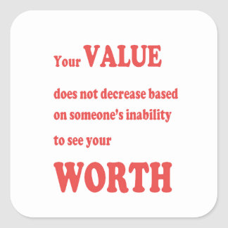 VALUE WORTH: wisdom words motivation positivity Stickers