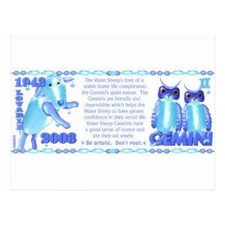 ValxArt 1943 2003 zodiac water sheep born Gemini Postcard