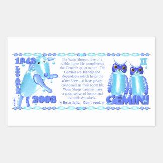 ValxArt 1943 2003 zodiac water sheep born Gemini Rectangular Sticker