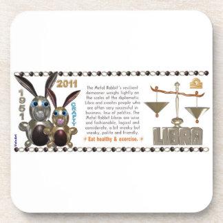 Valxart 1951 2011 2071 MetalRabbit zodiac Libra Beverage Coaster