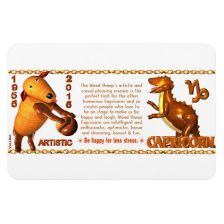 Valxart 1955 2015 2075 WoodSheep zodiac Capricorn Rectangular Photo Magnet