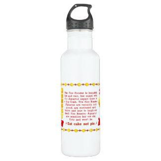 Valxart 1957 2017 2077 FireRooster zodiac Aquarius Stainless Steel Water Bottle