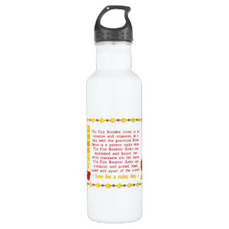 Valxart 1957 2017 2077 FireRooster zodiac Aries Stainless Steel Water Bottle