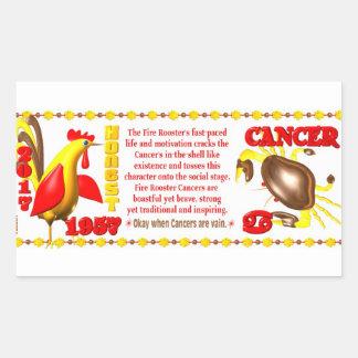 Valxart 1957 2017 2077 FireRooster zodiac Cancer Rectangular Sticker