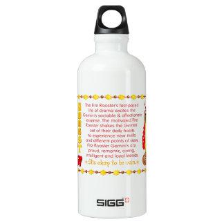 Valxart 1957 2017 2077 FireRooster zodiac Gemini Aluminum Water Bottle