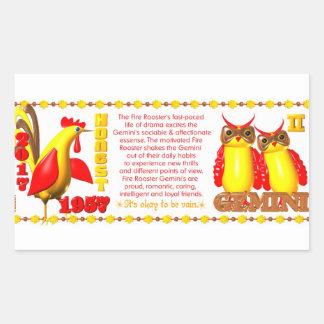 Valxart 1957 2017 2077 FireRooster zodiac Gemini Rectangular Sticker