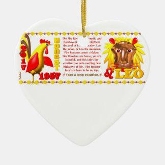Valxart 1957 2017 2077 FireRooster zodiac Leo Ceramic Ornament