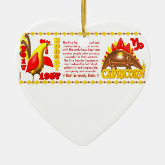 Valxart 1957 2017 FireRooster zodiac Capricorn Ceramic Ornament
