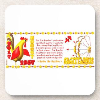 Valxart 1957 2017 FireRooster zodiac Sagittarius Beverage Coaster
