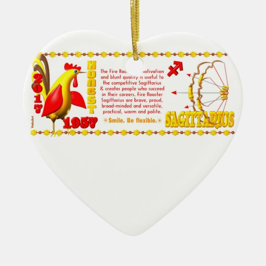 Valxart 1957 2017 FireRooster zodiac Sagittarius Ceramic Ornament