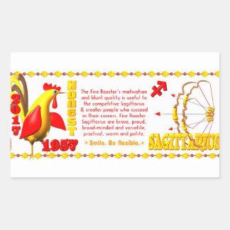 Valxart 1957 2017 FireRooster zodiac Sagittarius Rectangular Sticker