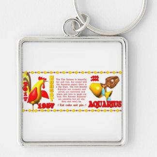 ValxArt 1957 2017 zodiac fire rooster Aquarius Key Chains