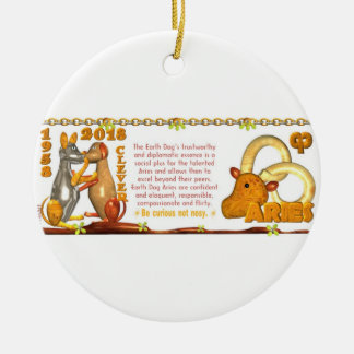Valxart 1958 2018 2078 EarthDog zodiac Aries Ceramic Ornament