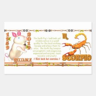 Valxart 1959 2019 2079 escorpiones del zodiaco de pegatina rectangular
