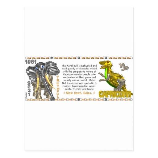 Valxart 1961 2021 MetalBull zodiac Capricorn Postcard