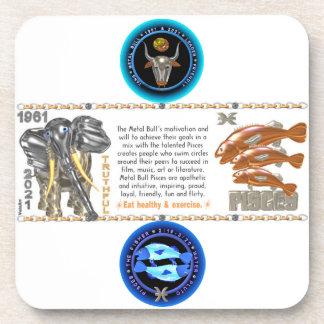 Valxart 1961 2021 MetalBull zodiac Pisces Drink Coaster